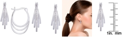 Macy's Diamond 1/10 ct. t.w. Multi Row Hoop Earrings in Sterling Silver