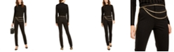 INC International Concepts INC Rhinestone Mock-Neck Top & Chain-Belted Straight-Leg Pants, Created For Macy's