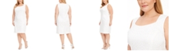 Kasper Plus Size Animal-Print Jacquard Sheath Dress