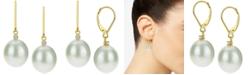 Macy's Cultured Baroque Freshwater Pearl (12mm) & Diamond (1/20 ct. t.w.) Drop Earrings in 14k Gold