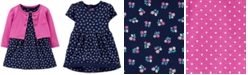 Carter's Baby Girls 2-Pc. Cotton Floral-Print Bodysuit Dress & Cardigan Set