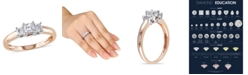 Macy's Princess Cut Certified Diamond (1/2 ct. t.w.) 3-Stone Engagement Ring in 14k Rose Gold
