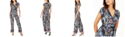 NY Collection Petite Faux-Wrap Printed Jumpsuit