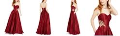 Blondie Nites Juniors' Strapless Floral-Appliqué Gown