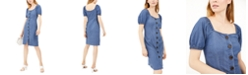 INC International Concepts INC Puff-Sleeve Buttoned Dress, Created For Macy's