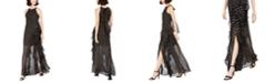Betsy & Adam Chiffon Foil-Dot Gown