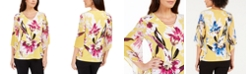 JM Collection Printed Chiffon-Sleeve Tunic with Necklace Trim, Created for Macy's