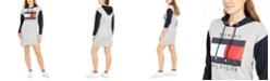 Tommy Hilfiger Colorblocked Flag Logo Hoodie Sweatshirt Dress