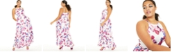 City Studios Trendy Plus Size Belted Metallic Dot & Floral-Print Gown