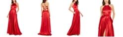 Blondie Nites Juniors' Lace-Up Satin Gown