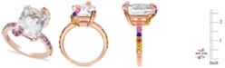 Macy's White Quartz and Multi-Colored Sapphire Ring in 14K Rose Gold