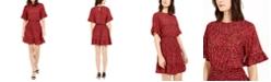Michael Kors Printed Flutter Fit & Flare Dress