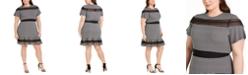Michael Kors Plus Size Cheeky Check Mesh-Trim Dress