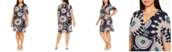 Connected Plus Size Medallion-Print O-Ring Dress