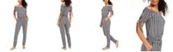 Planet Gold Juniors' Striped Off-The-Shoulder Jumpsuit