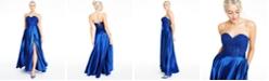 Blondie Nites Juniors' Floral-Appliqué Charmeuse Gown