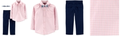 Carter's Toddler Boys 3-Pc. Cotton Gingham Shirt, Solid Pants & Plaid Bow Tie Set