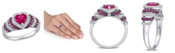 Macy's Created Ruby (1 1/3 ct. t.w.) and Created White Sapphire (3/8 ct. t.w.) Heart Vintage Style Ring in Sterling Silver