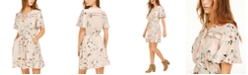 Crystal Doll Juniors' Floral-Print Crochet-Trim Dress