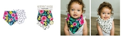 tiny twinkle Baby Boys and Girls Pack of 2 Painted Peony Bandana Bib Set