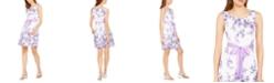 Connected Petite Ribbon-Belt Fit & Flare Dress