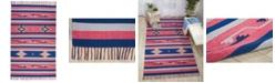"""Long Street Looms Macah MAC01 Pink, Blue 6'6"""" x 9'6"""" Area Rug"""