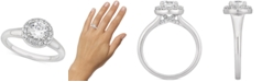 Macy's Certified Diamond Halo Engagement Ring (1 ct. t.w.) in 14k White Gold
