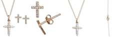 Macy's Children's 2-Pc. Set Cubic Zirconia Cross Pendant Necklace & Matching Stud Earrings Set in 14k Gold-Plated Sterling Silver