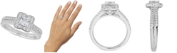 Macy's Diamond Princess Scallop Halo Engagement Ring (1 ct. t.w.) in 14k White Gold