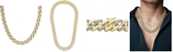 """Macy's Men's Diamond Link 20"""" Chain Necklace (1/2 ct. t.w.) in 14k Gold-Plated Sterling Silver or Sterling Silver."""
