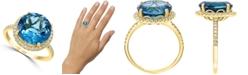 LALI Jewels London Blue Topaz (6-3/4 ct. t.w.) & Diamond (1/3 ct. t.w.) Statement Ring in 14k Gold