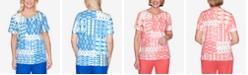 Alfred Dunner Ikat Patchwork Short Sleeve Knit Top