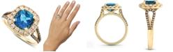 Le Vian Deep Sea Blue Topaz (2-5/8 ct. t.w.) & Diamond (3/4 ct. t.w.) Ring in 14k Gold