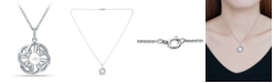 """Macy's Imitation Pearl and Cubic Zirconia Crystal Halo Pendant Fine Silver Plate 18"""""""