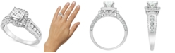 Macy's Diamond (1-1/2 ct. t.w.) Princess Halo Engagement Ring in 14k White Gold