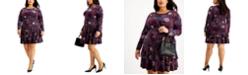 Michael Kors Plus Size Printed Long-Sleeve Flounce Dress