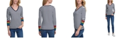 Tommy Hilfiger Ivy Rainbow Striped V-Neck Sweater
