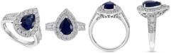 EFFY Collection EFFY® Sapphire (1-5/8 ct. t.w.) & Diamond (3/8 ct. t.w.) Teardrop Ring in 14k White Gold