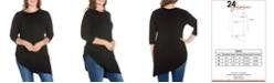 24seven Comfort Apparel Women's Plus Size Asymmetrical Elbow Sleeves Tunic Top