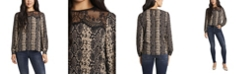 Vince Camuto Women's Snake Printed Lace Yoke Pleated Front Blouse