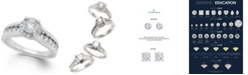 TruMiracle Diamond Channel Halo Engagement Ring (1 ct. t.w.) in 14k White Gold