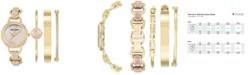 Anne Klein Women's Gold-Tone and Pink Marble Enamel Bracelet Watch & Bracelets Set 34mm AK-2750LPST