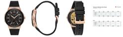 Bulova Women's Curv Diamond-Accent Black Rubber Strap Watch 41mm