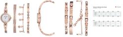 Anne Klein Women's Rose Gold-Tone Bangle Bracelet Watch 22mm Gift Set