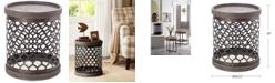 Furniture Cooper Metal Drum Accent Table