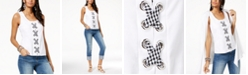 INC International Concepts INC Gingham Lace-Up Tank Top, Created for Macy's