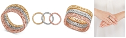 Macy's Tricolor 3-Pc. Set Openwork Stack Rings in 10k Gold, White Gold & Rose Gold