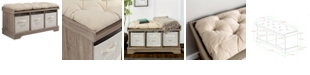 """Walker Edison 42"""" Wood Storage Bench with Totes and Cushion - Driftwood"""