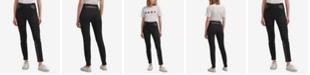DKNY Ponté-Knit & Faux-Leather Skinny Pants