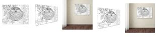 "Trademark Global Oxana Ziaka 'Judaica Folk Owl - Outline' Canvas Art - 19"" x 14"" x 2"""